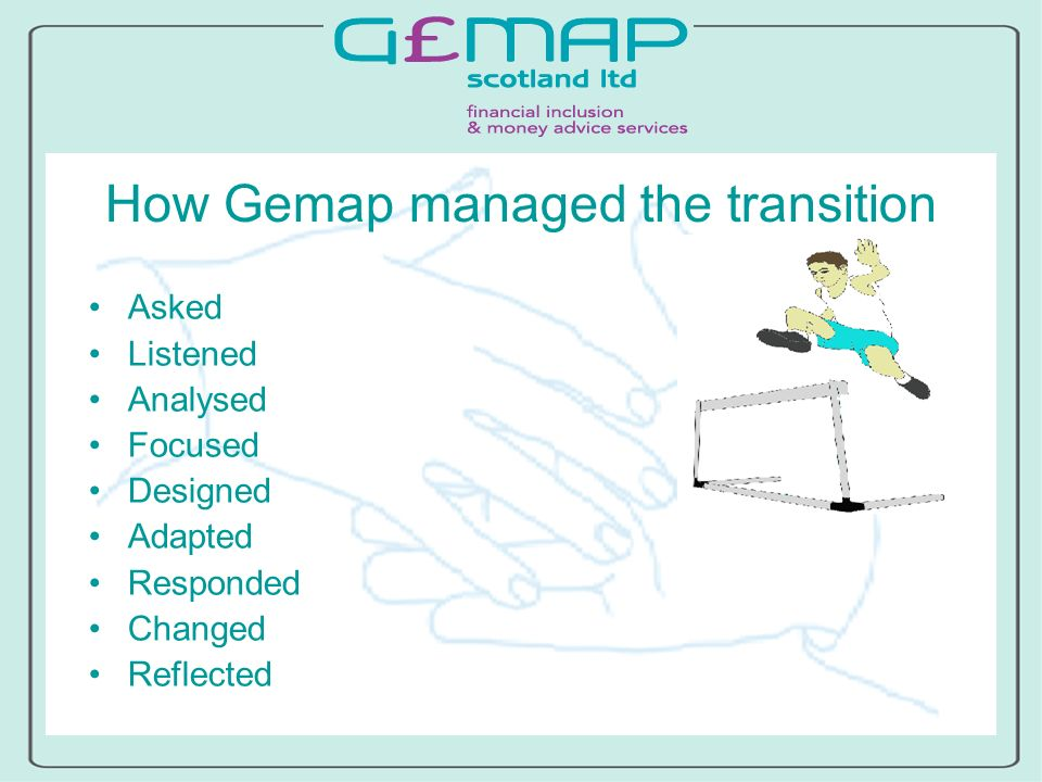How Gemap managed the transition Asked Listened Analysed Focused Designed Adapted Responded Changed Reflected
