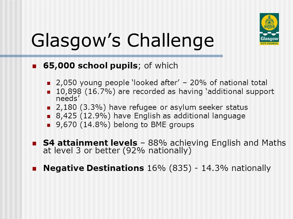 65,000 school pupils; of which 2,050 young people looked after – 20% of national total 10,898 (16.7%) are recorded as having additional support needs 2,180 (3.3%) have refugee or asylum seeker status 8,425 (12.9%) have English as additional language 9,670 (14.8%) belong to BME groups S4 attainment levels – 88% achieving English and Maths at level 3 or better (92% nationally) Negative Destinations 16% (835) - 14.3% nationally Glasgows Challenge