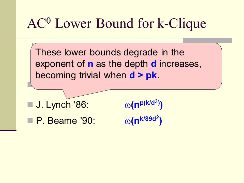 AC 0 Lower Bound for k-Clique The k-clique problem (on graphs of size n) requires depth-d circuits of what size.