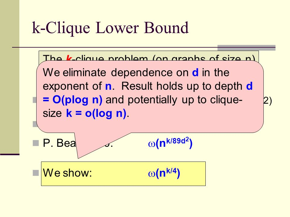 k-Clique Lower Bound The k-clique problem (on graphs of size n) requires depth-d circuits of what size.