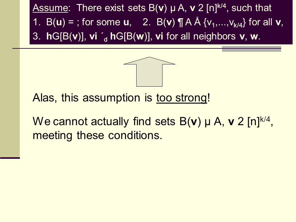 Assume: There exist sets B(v) µ A, v 2 [n] k/4, such that 1.