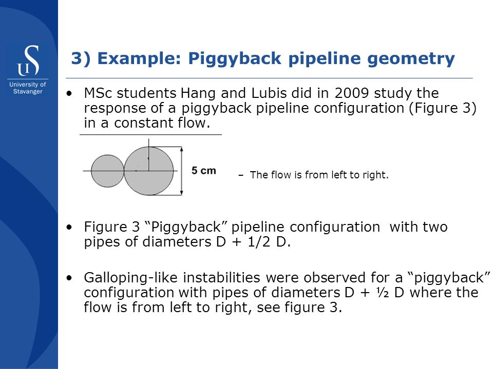 3) Example: Piggyback pipeline geometry MSc students Hang and Lubis did in 2009 study the response of a piggyback pipeline configuration (Figure 3) in a constant flow.