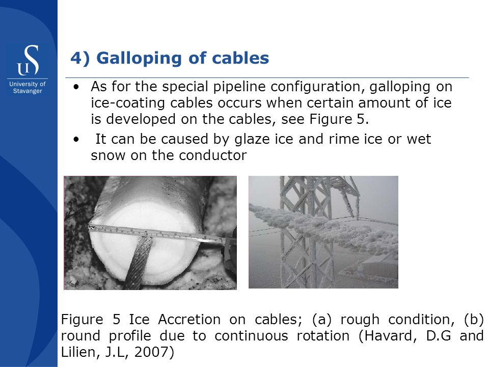 4) Galloping of cables As for the special pipeline configuration, galloping on ice-coating cables occurs when certain amount of ice is developed on the cables, see Figure 5.