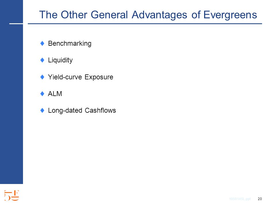 1050145L.ppt 20 The Other General Advantages of Evergreens Benchmarking Liquidity Yield-curve Exposure ALM Long-dated Cashflows