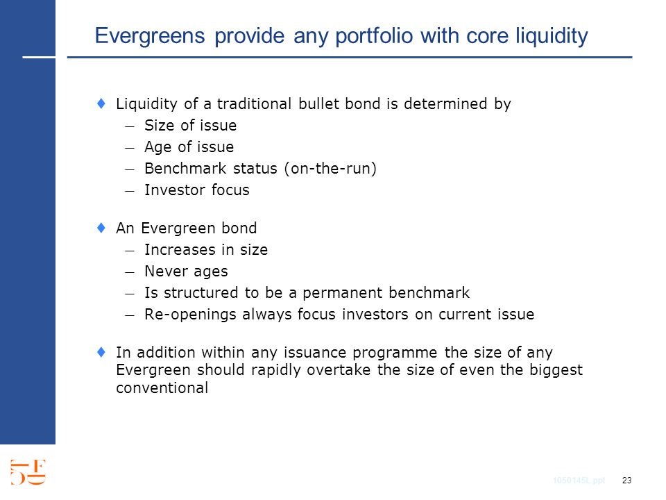 1050145L.ppt 23 Evergreens provide any portfolio with core liquidity Liquidity of a traditional bullet bond is determined by Size of issue Age of issue Benchmark status (on-the-run) Investor focus An Evergreen bond Increases in size Never ages Is structured to be a permanent benchmark Re-openings always focus investors on current issue In addition within any issuance programme the size of any Evergreen should rapidly overtake the size of even the biggest conventional