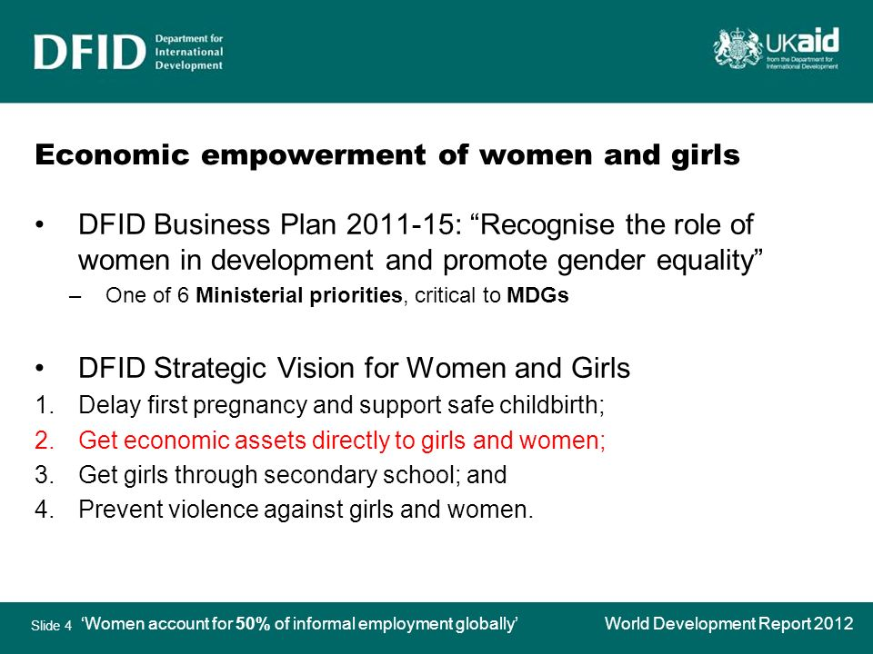 Slide 4 Economic empowerment of women and girls DFID Business Plan : Recognise the role of women in development and promote gender equality –One of 6 Ministerial priorities, critical to MDGs DFID Strategic Vision for Women and Girls 1.Delay first pregnancy and support safe childbirth; 2.Get economic assets directly to girls and women; 3.Get girls through secondary school; and 4.Prevent violence against girls and women.