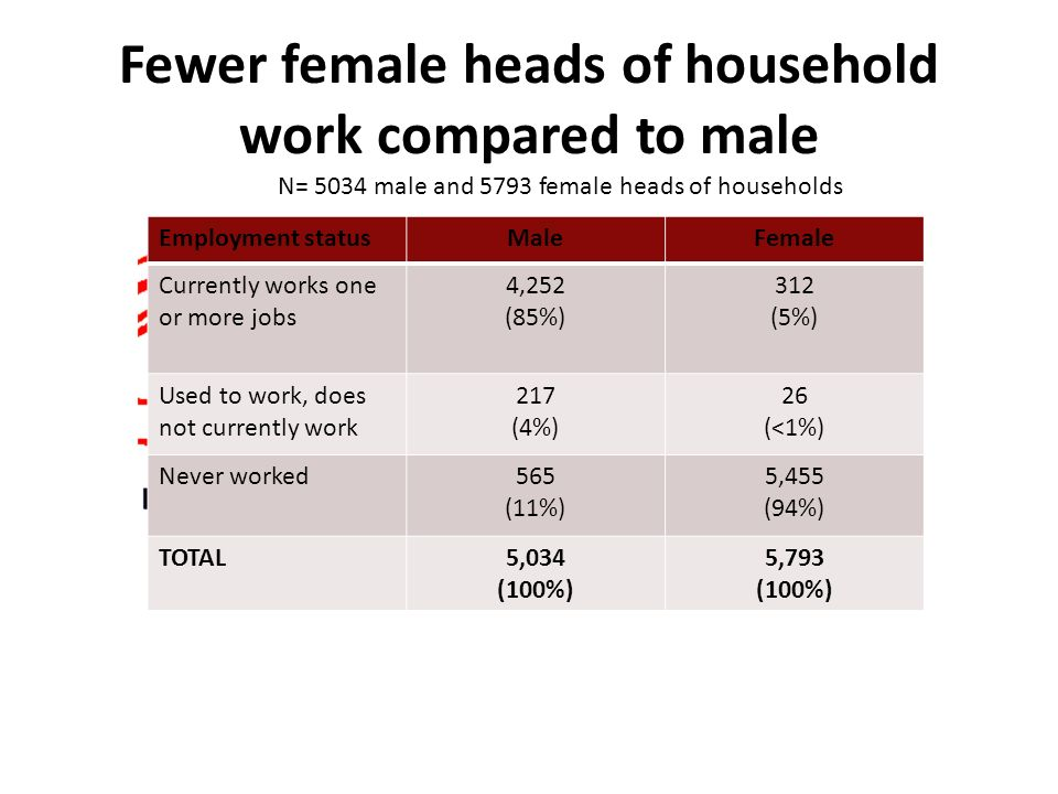 Fewer female heads of household work compared to male Employment statusMaleFemale Currently works one or more jobs 4,252 (85%) 312 (5%) Used to work, does not currently work 217 (4%) 26 (<1%) Never worked565 (11%) 5,455 (94%) TOTAL5,034 (100%) 5,793 (100%) N= 5034 male and 5793 female heads of households