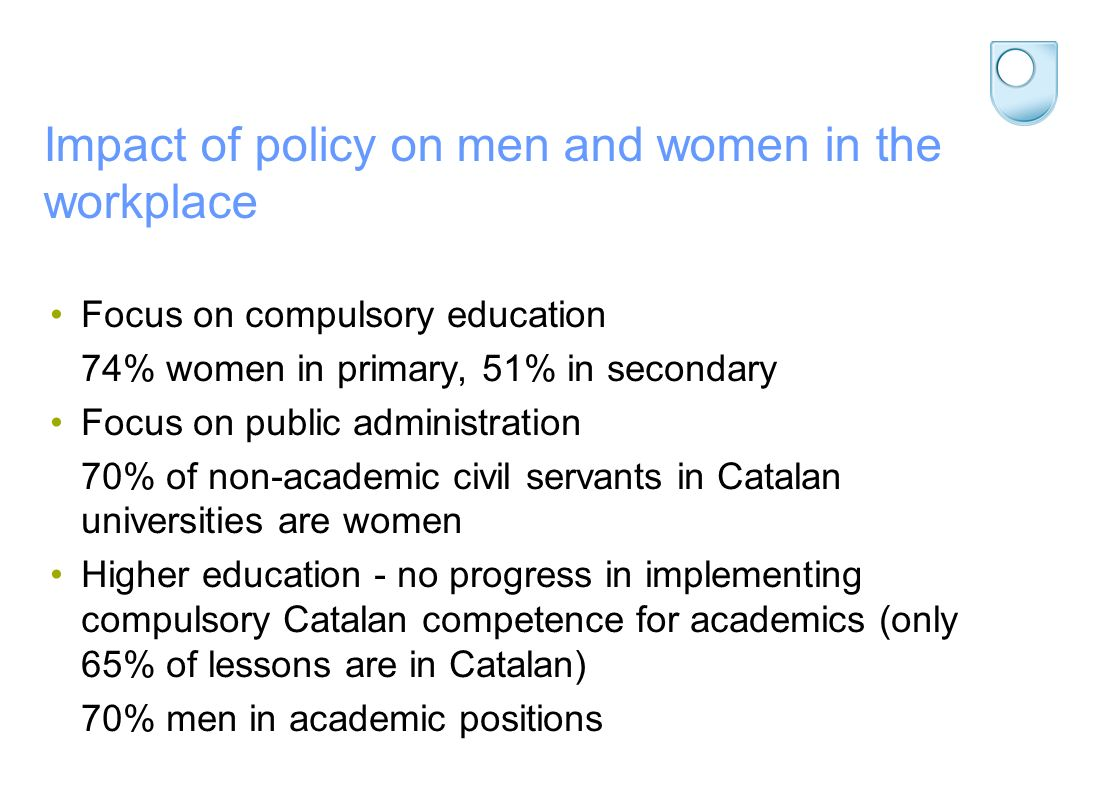 Impact of policy on men and women in the workplace Focus on compulsory education 74% women in primary, 51% in secondary Focus on public administration 70% of non-academic civil servants in Catalan universities are women Higher education - no progress in implementing compulsory Catalan competence for academics (only 65% of lessons are in Catalan) 70% men in academic positions