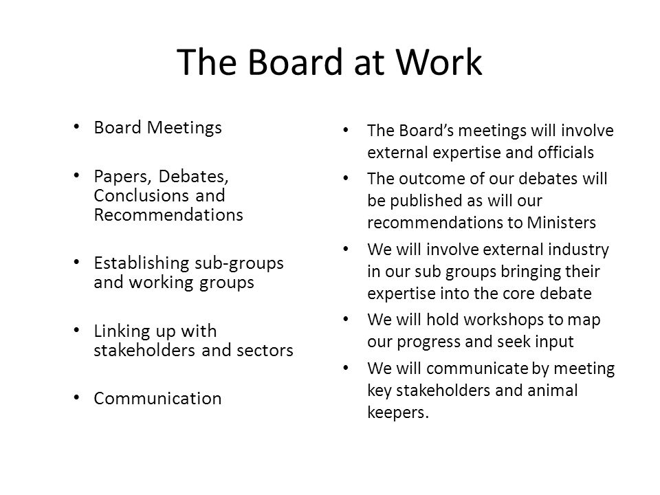 The Board at Work Board Meetings Papers, Debates, Conclusions and Recommendations Establishing sub-groups and working groups Linking up with stakeholders and sectors Communication The Boards meetings will involve external expertise and officials The outcome of our debates will be published as will our recommendations to Ministers We will involve external industry in our sub groups bringing their expertise into the core debate We will hold workshops to map our progress and seek input We will communicate by meeting key stakeholders and animal keepers.