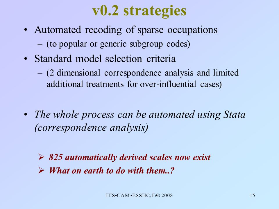 HIS-CAM -ESSHC, Feb 200815 v0.2 strategies Automated recoding of sparse occupations –(to popular or generic subgroup codes) Standard model selection criteria –(2 dimensional correspondence analysis and limited additional treatments for over-influential cases) The whole process can be automated using Stata (correspondence analysis) 825 automatically derived scales now exist What on earth to do with them..