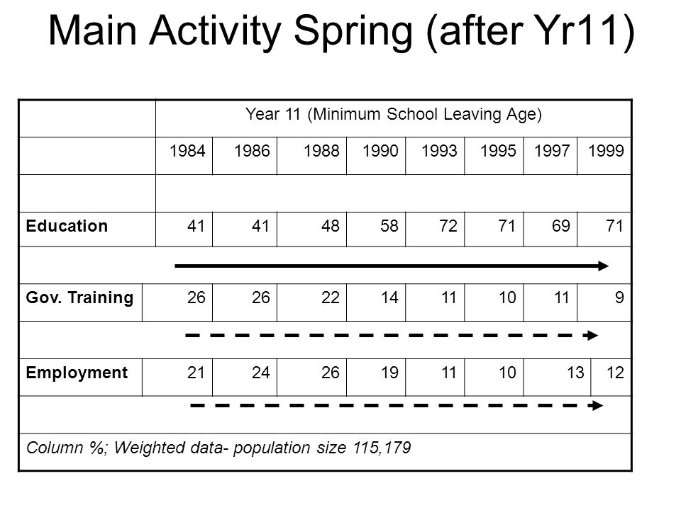 Main Activity Spring (after Yr11) Year 11 (Minimum School Leaving Age) 19841986198819901993199519971999 Education41 485872716971 Gov.