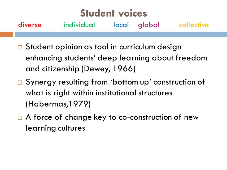 Student voices diverseindividual local global collective Student opinion as tool in curriculum design enhancing students deep learning about freedom and citizenship (Dewey, 1966) Synergy resulting from bottom up construction of what is right within institutional structures (Habermas,1979) A force of change key to co-construction of new learning cultures