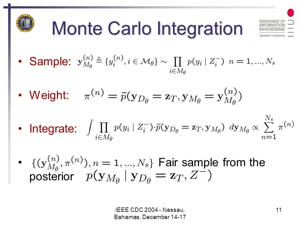 IEEE CDC 2004 - Nassau, Bahamas, December 14-17 11 Monte Carlo Integration Sample: Weight: Integrate: Fair sample from the posterior