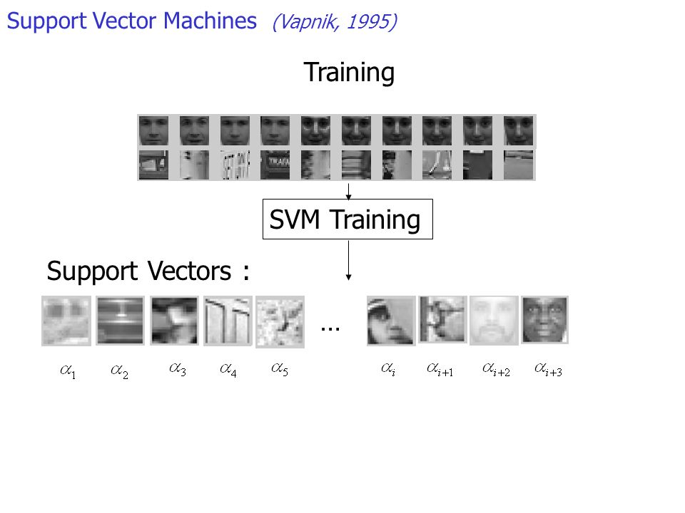 Support Vector Machines (Vapnik, 1995) Support Vectors : SVM Training … Training