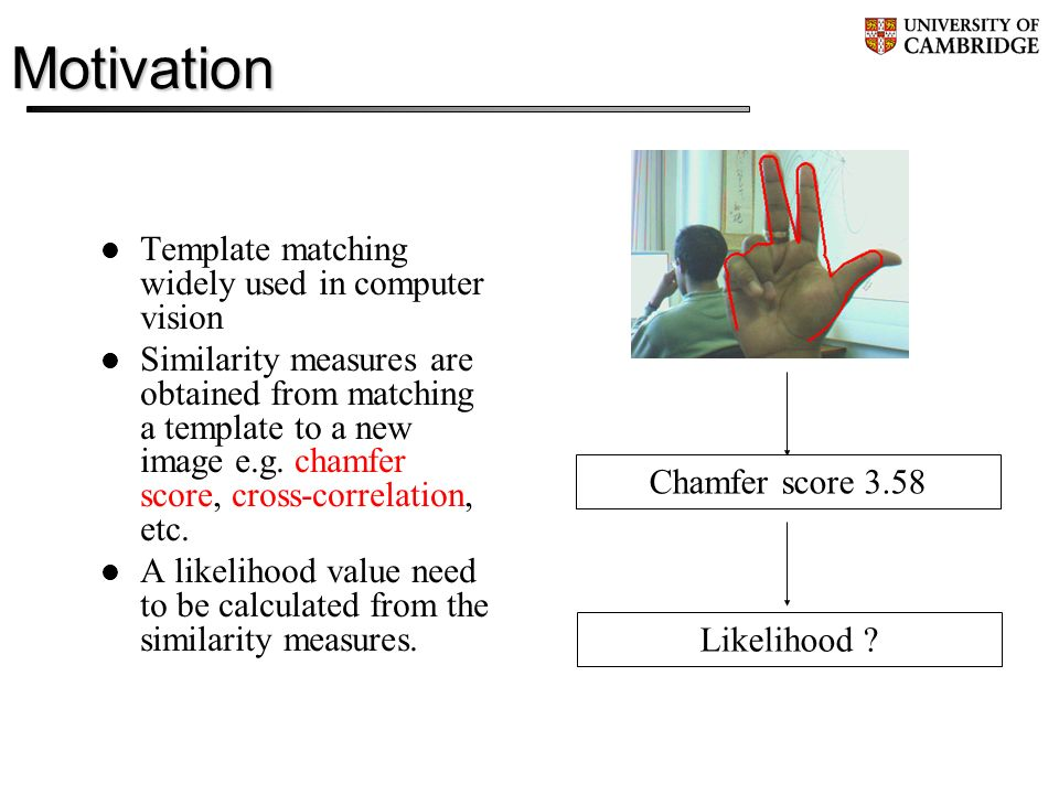 Motivation Template matching widely used in computer vision Similarity measures are obtained from matching a template to a new image e.g.