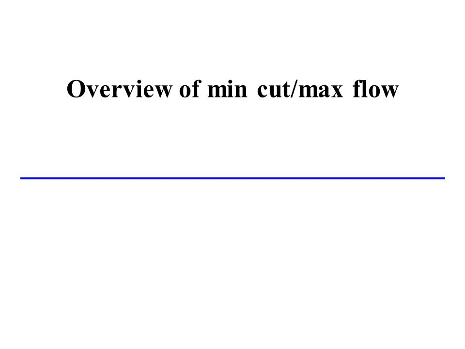 Overview of min cut/max flow
