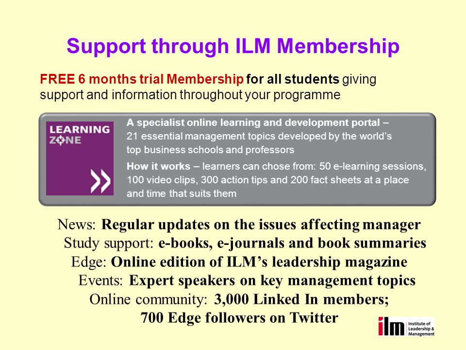 Support through ILM Membership FREE 6 months trial Membership for all students giving support and information throughout your programme A specialist online learning and development portal – 21 essential management topics developed by the worlds top business schools and professors How it works – learners can chose from: 50 e-learning sessions, 100 video clips, 300 action tips and 200 fact sheets at a place and time that suits them News: Regular updates on the issues affecting manager Study support: e-books, e-journals and book summaries Edge: Online edition of ILMs leadership magazine Events: Expert speakers on key management topics Online community: 3,000 Linked In members; 700 Edge followers on Twitter
