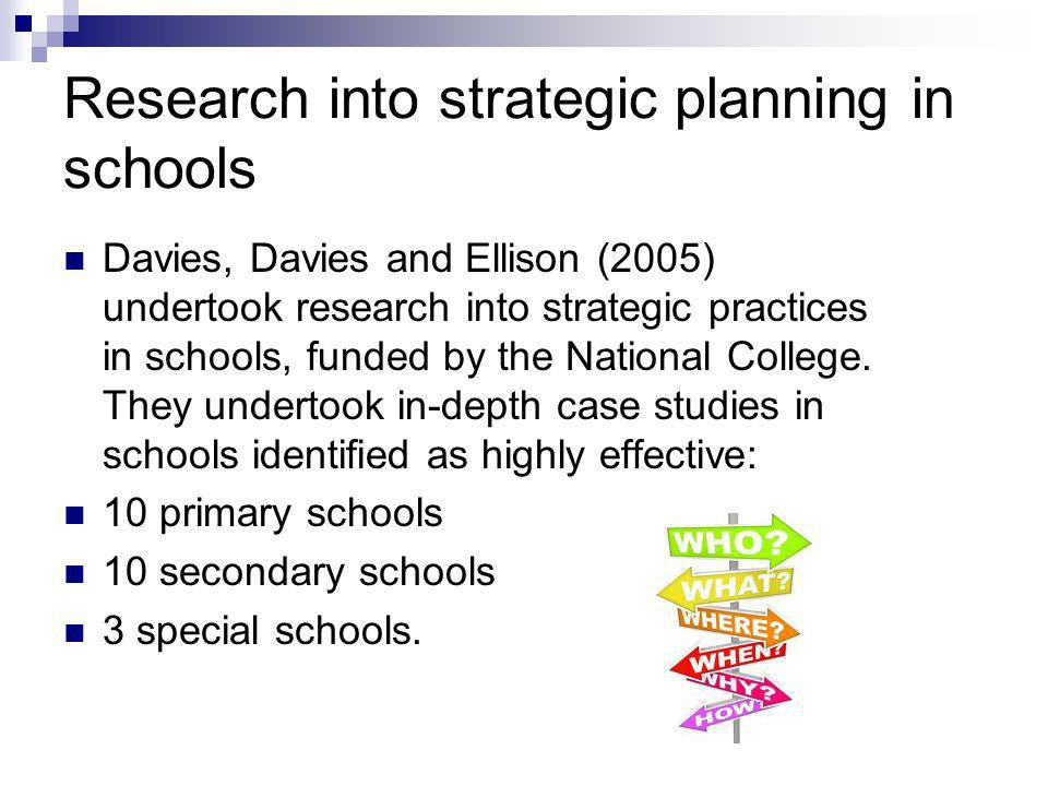 Research into strategic planning in schools Davies, Davies and Ellison (2005) undertook research into strategic practices in schools, funded by the National College.