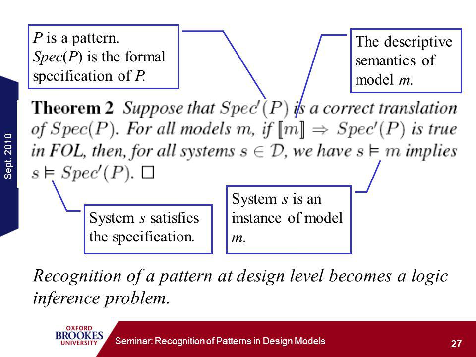 Sept. 2010 27 Seminar: Recognition of Patterns in Design Models P is a pattern.