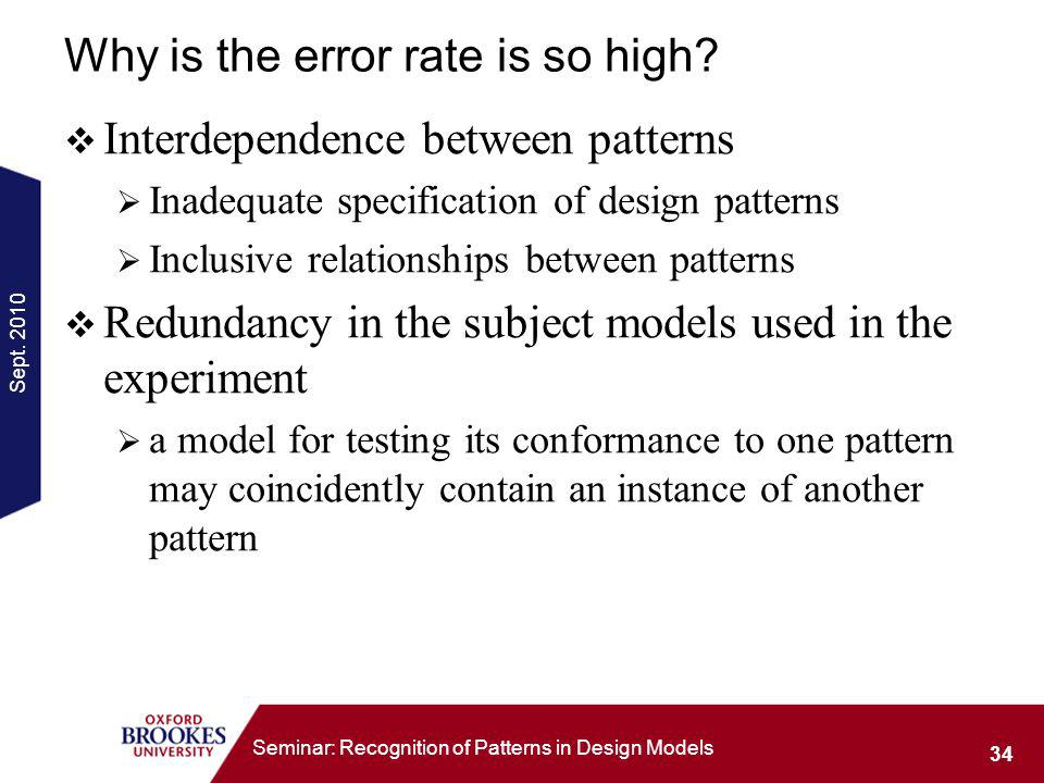 Sept. 2010 34 Seminar: Recognition of Patterns in Design Models Why is the error rate is so high.