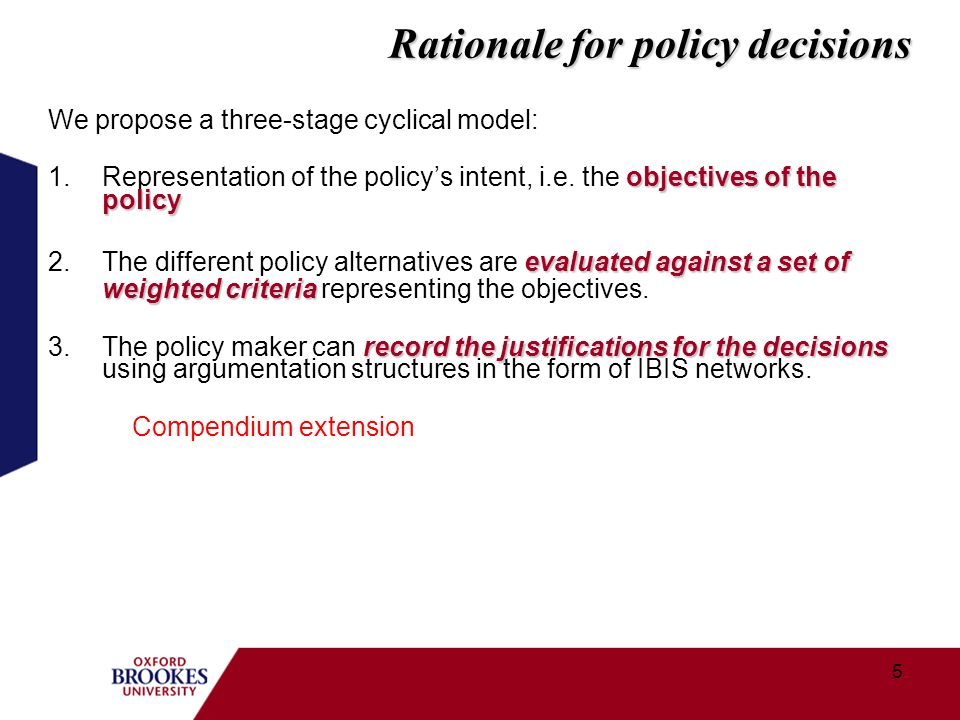 5 We propose a three-stage cyclical model: objectives of the policy 1.Representation of the policys intent, i.e.