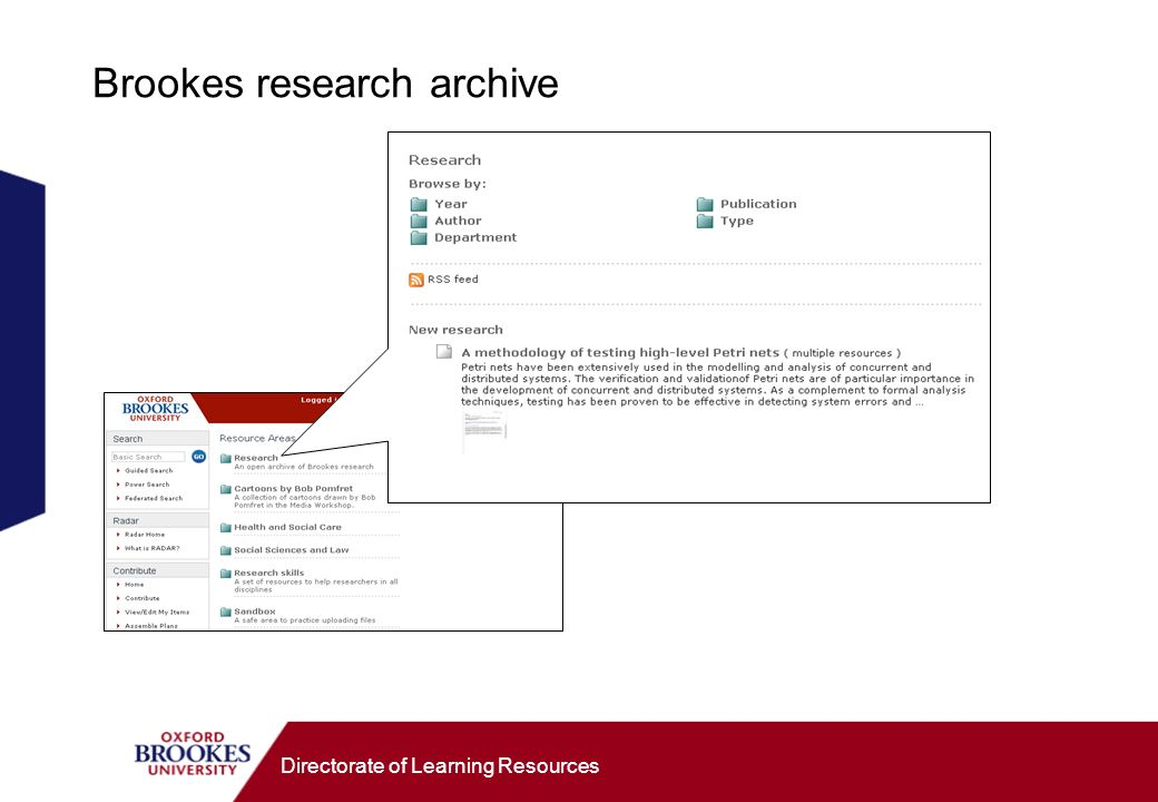 Directorate of Learning Resources Brookes research archive
