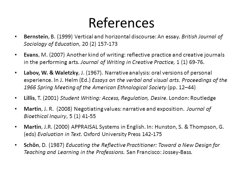 References Bernstein, B. (1999) Vertical and horizontal discourse: An essay.