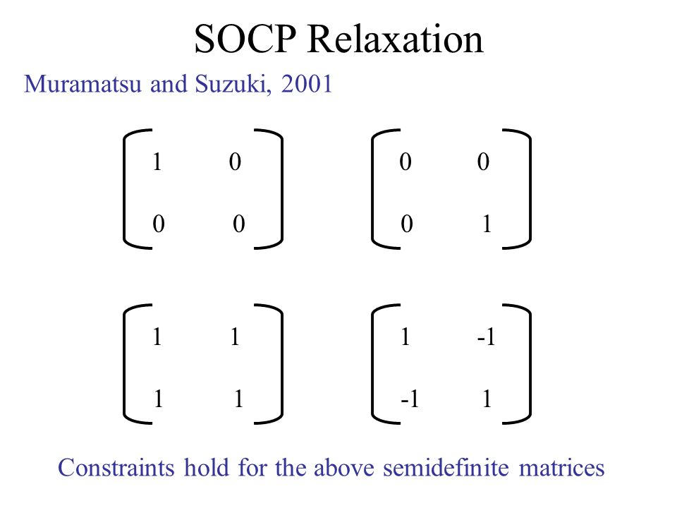 SOCP Relaxation Muramatsu and Suzuki, 2001 10 00 00 01 11 11 1 1 Constraints hold for the above semidefinite matrices