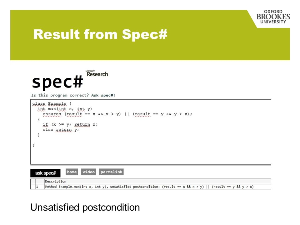 Result from Spec# Unsatisfied postcondition