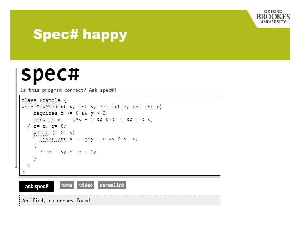 Spec# happy