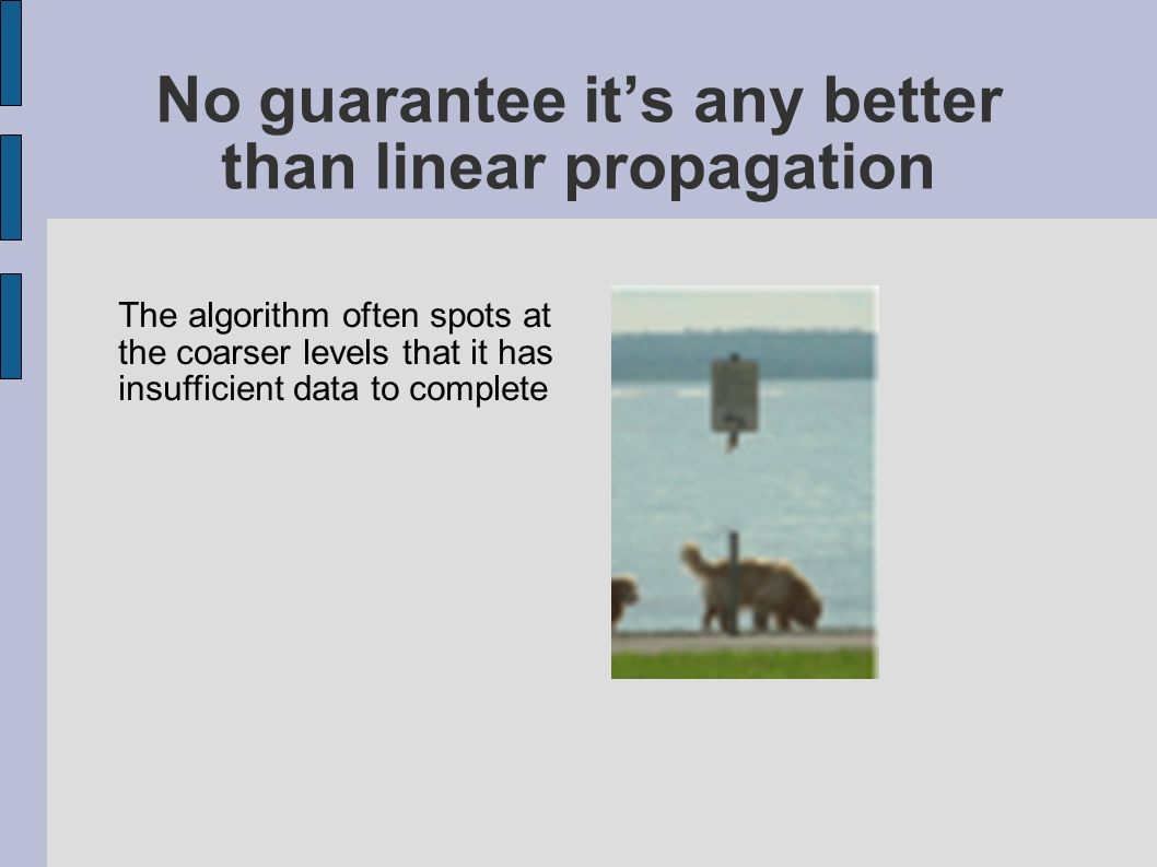 No guarantee its any better than linear propagation The algorithm often spots at the coarser levels that it has insufficient data to complete