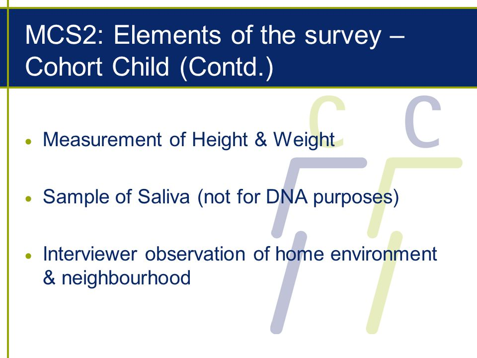 MCS2: Elements of the survey – Cohort Child (Contd.) Measurement of Height & Weight Sample of Saliva (not for DNA purposes) Interviewer observation of home environment & neighbourhood