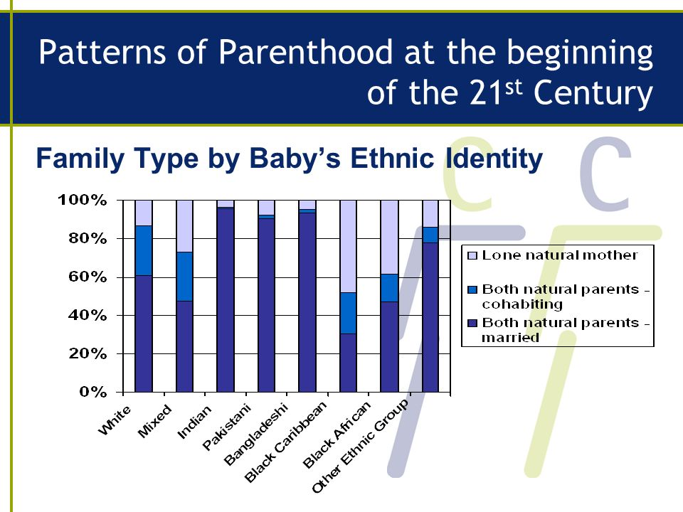Patterns of Parenthood at the beginning of the 21 st Century Family Type by Babys Ethnic Identity