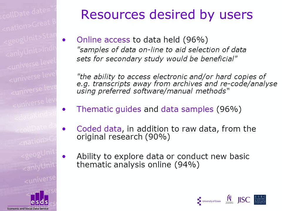 Resources desired by users Online access to data held (96%) samples of data on-line to aid selection of data sets for secondary study would be beneficial the ability to access electronic and/or hard copies of e.g.