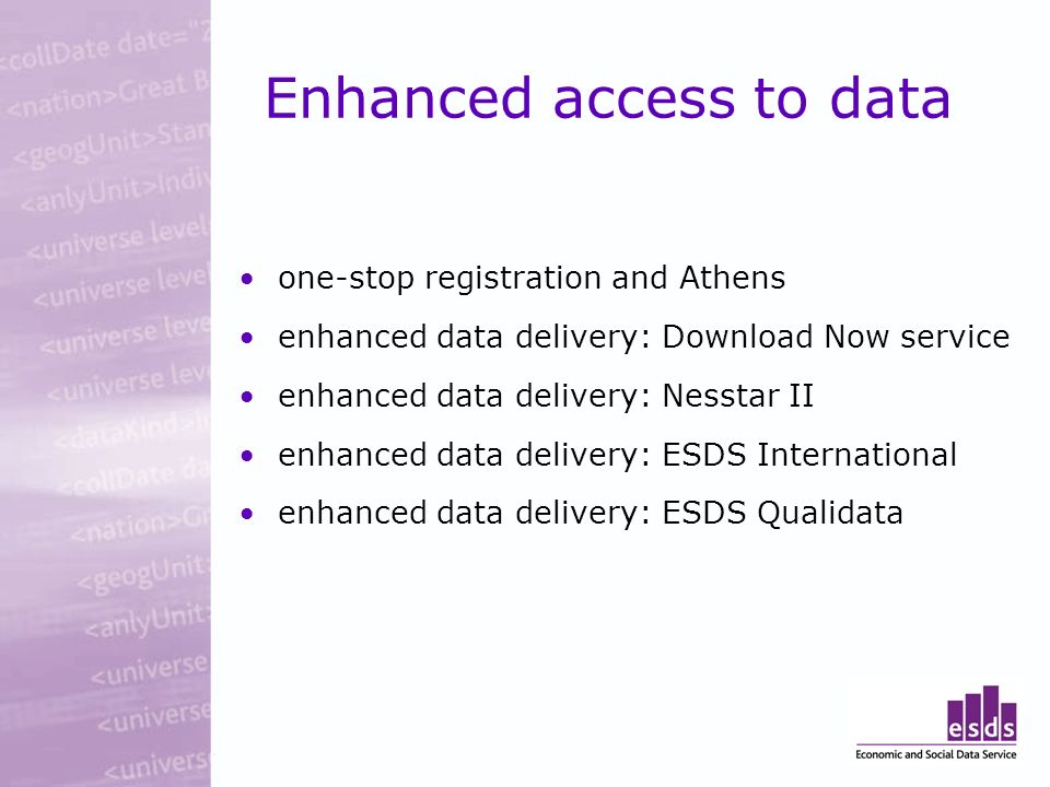 Enhanced access to data one-stop registration and Athens enhanced data delivery: Download Now service enhanced data delivery: Nesstar II enhanced data delivery: ESDS International enhanced data delivery: ESDS Qualidata