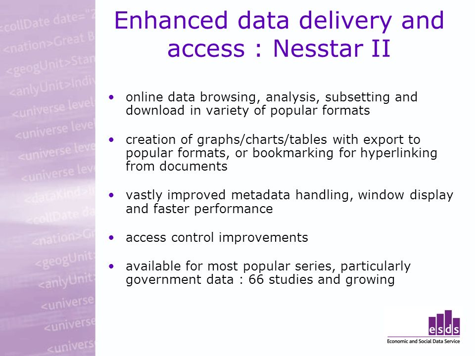 Enhanced data delivery and access : Nesstar II online data browsing, analysis, subsetting and download in variety of popular formats creation of graphs/charts/tables with export to popular formats, or bookmarking for hyperlinking from documents vastly improved metadata handling, window display and faster performance access control improvements available for most popular series, particularly government data : 66 studies and growing