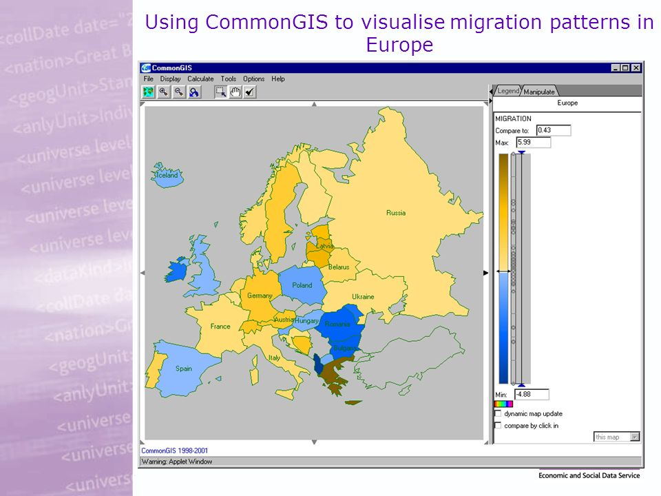 Using CommonGIS to visualise migration patterns in Europe
