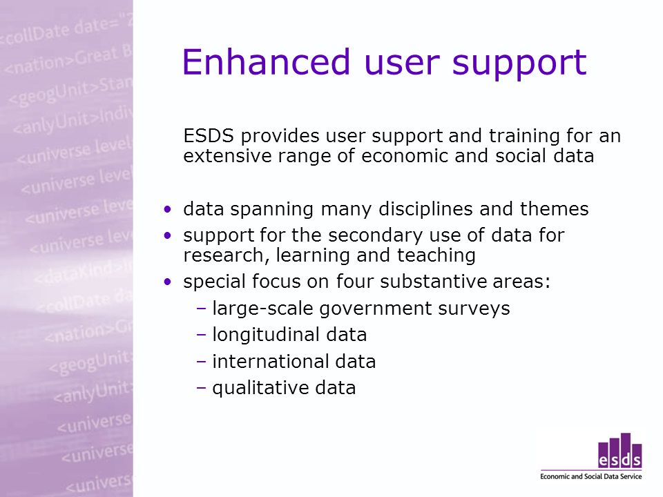 Enhanced user support ESDS provides user support and training for an extensive range of economic and social data data spanning many disciplines and themes support for the secondary use of data for research, learning and teaching special focus on four substantive areas: –large-scale government surveys –longitudinal data –international data –qualitative data
