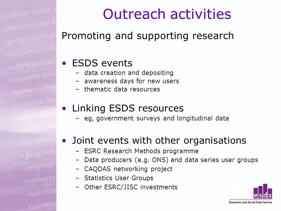 Outreach activities Promoting and supporting research ESDS events –data creation and depositing –awareness days for new users –thematic data resources Linking ESDS resources –eg, government surveys and longitudinal data Joint events with other organisations –ESRC Research Methods programme –Data producers (e.g.