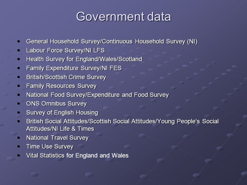 Government data General Household Survey/Continuous Household Survey (NI) General Household Survey/Continuous Household Survey (NI) Labour Force Survey/NI LFS Labour Force Survey/NI LFS Health Survey for England/Wales/Scotland Health Survey for England/Wales/Scotland Family Expenditure Survey/NI FES Family Expenditure Survey/NI FES British/Scottish Crime Survey British/Scottish Crime Survey Family Resources Survey Family Resources Survey National Food Survey/Expenditure and Food Survey National Food Survey/Expenditure and Food Survey ONS Omnibus Survey ONS Omnibus Survey Survey of English Housing Survey of English Housing British Social Attitudes/Scottish Social Attitudes/Young Peoples Social Attitudes/NI Life & Times British Social Attitudes/Scottish Social Attitudes/Young Peoples Social Attitudes/NI Life & Times National Travel Survey National Travel Survey Time Use Survey Time Use Survey Vital Statistics Vital Statistics for England and Wales