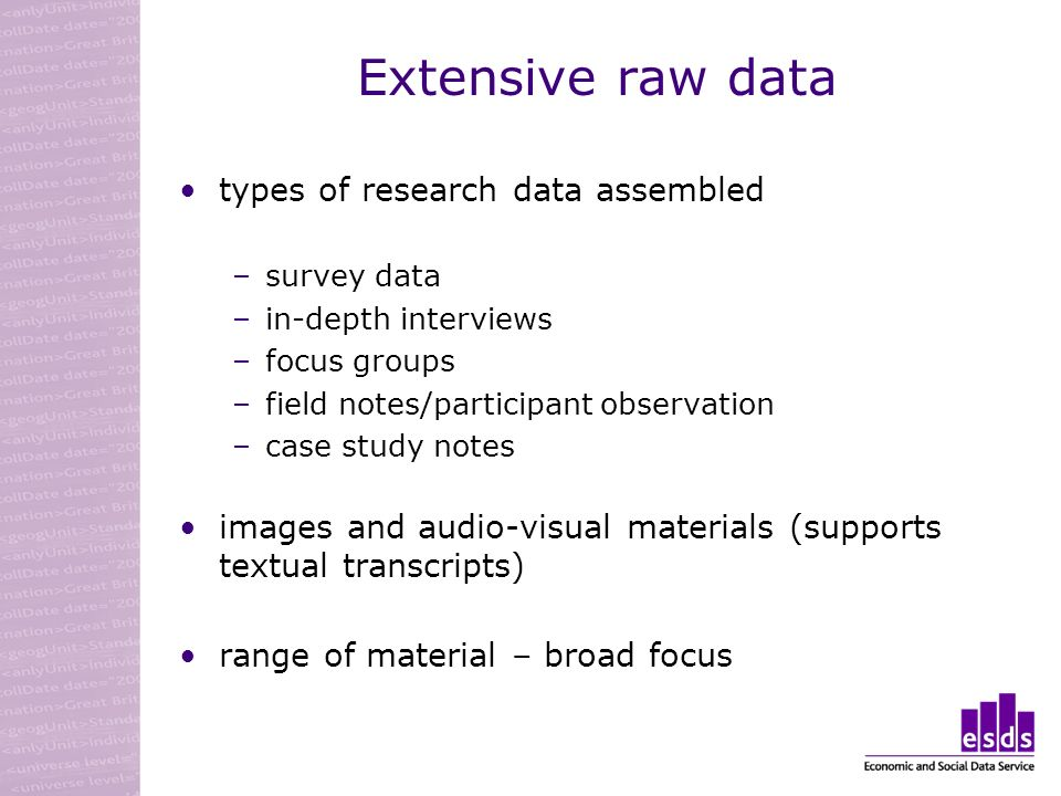 Extensive raw data types of research data assembled –survey data –in-depth interviews –focus groups –field notes/participant observation –case study notes images and audio-visual materials (supports textual transcripts) range of material – broad focus