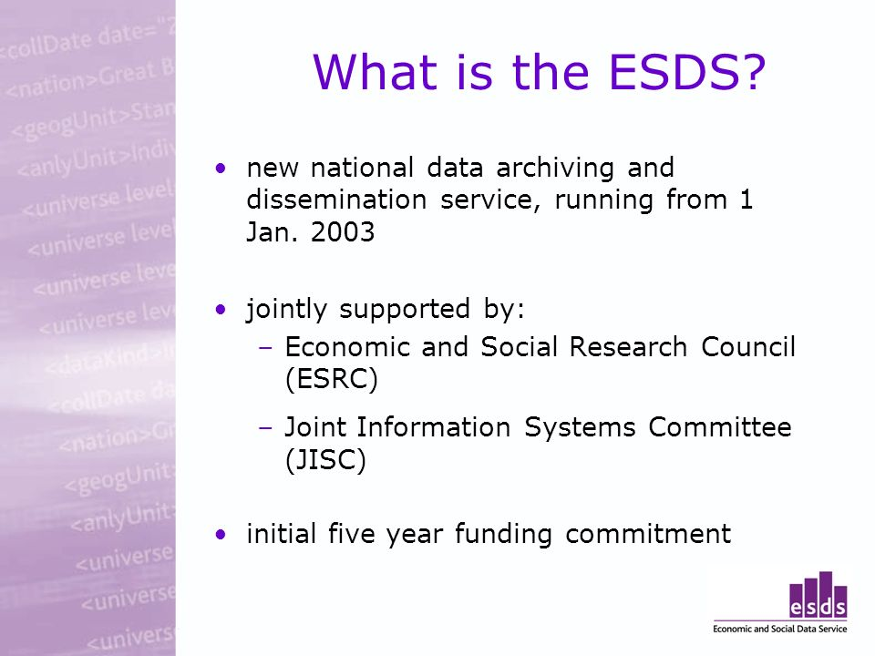 What is the ESDS. new national data archiving and dissemination service, running from 1 Jan.