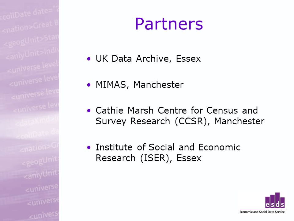 UK Data Archive, Essex MIMAS, Manchester Cathie Marsh Centre for Census and Survey Research (CCSR), Manchester Institute of Social and Economic Research (ISER), Essex Partners