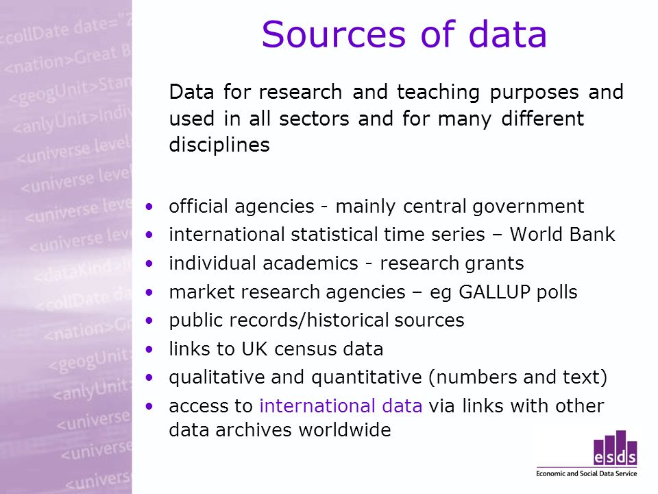 Sources of data Data for research and teaching purposes and used in all sectors and for many different disciplines official agencies - mainly central government international statistical time series – World Bank individual academics - research grants market research agencies – eg GALLUP polls public records/historical sources links to UK census data qualitative and quantitative (numbers and text) access to international data via links with other data archives worldwide