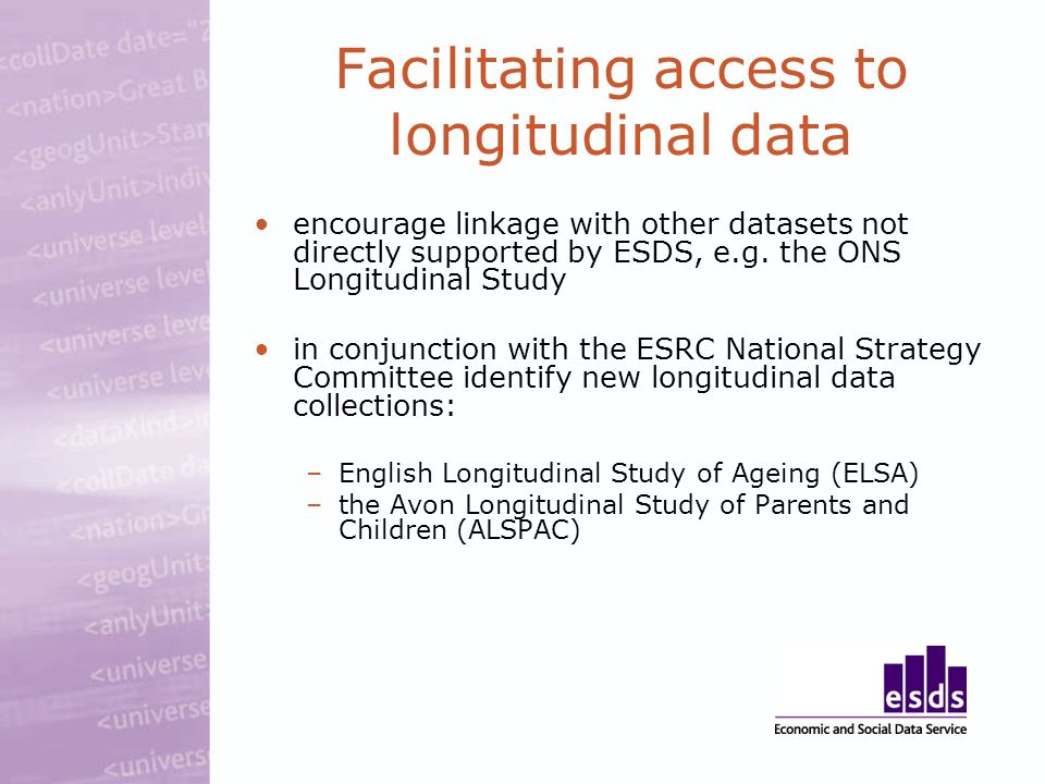 Facilitating access to longitudinal data encourage linkage with other datasets not directly supported by ESDS, e.g.