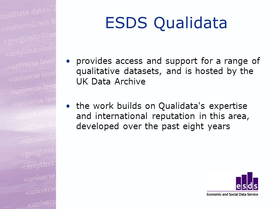 ESDS Qualidata provides access and support for a range of qualitative datasets, and is hosted by the UK Data Archive the work builds on Qualidata s expertise and international reputation in this area, developed over the past eight years
