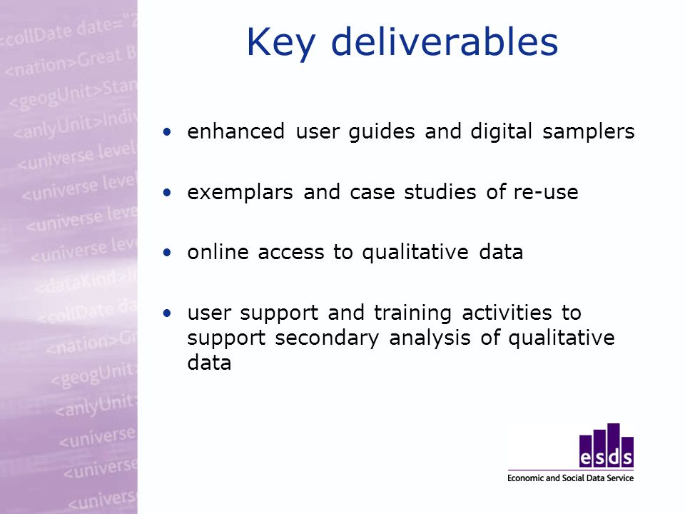 Key deliverables enhanced user guides and digital samplers exemplars and case studies of re-use online access to qualitative data user support and training activities to support secondary analysis of qualitative data