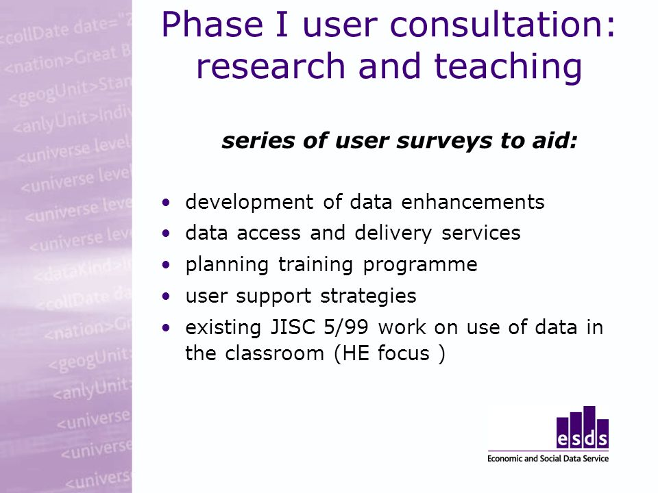Phase I user consultation: research and teaching series of user surveys to aid: development of data enhancements data access and delivery services planning training programme user support strategies existing JISC 5/99 work on use of data in the classroom (HE focus )