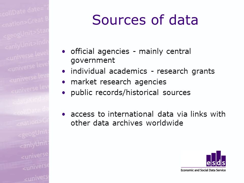 Sources of data official agencies - mainly central government individual academics - research grants market research agencies public records/historical sources access to international data via links with other data archives worldwide