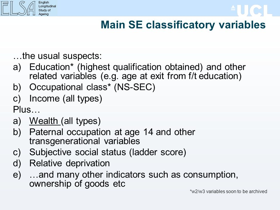 Main SE classificatory variables …the usual suspects: a)Education* (highest qualification obtained) and other related variables (e.g.